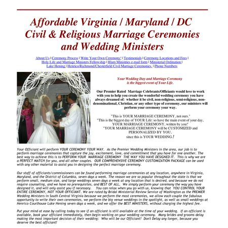 Affordable Virginia Civil Ceremonies / Wedding Ministers - Alexandria VA Wedding Officiant / Clergy Photo 1