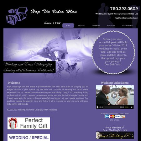 Hap The Video Man - Morongo Valley CA Wedding Videographer Photo 1