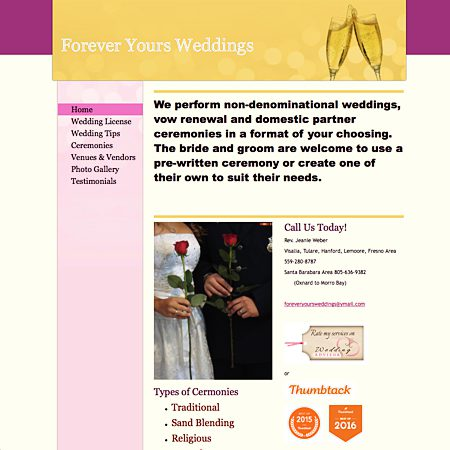 Forever Yours Weddings Performed - Santa Barbara CA Wedding Officiant / Clergy Photo 1