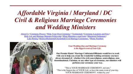 Affordable Virginia Civil Ceremonies / Wedding Ministers