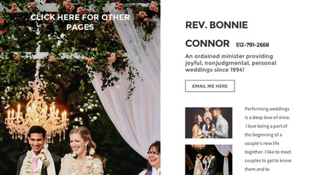 Rev. Bonnie Connor, minister for your wedding