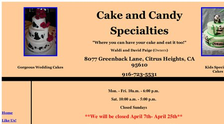 Cake and Candy Specialties