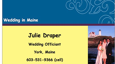 Julie Draper, Wedding Officiant