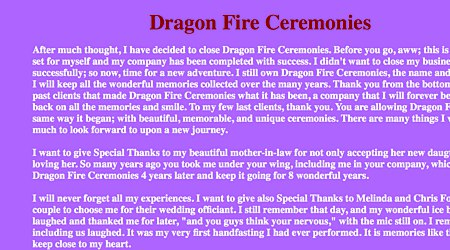 Dragon Fire Ceremonies