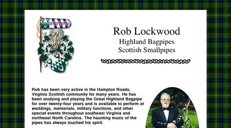 Rob Lockwood, Scottish Bagpiper